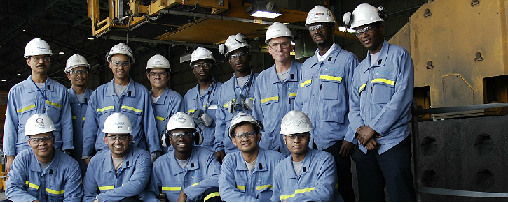 The multi-cultural team who make up the Anode Baking Furnace shift in Qatalum's Carbon Plant